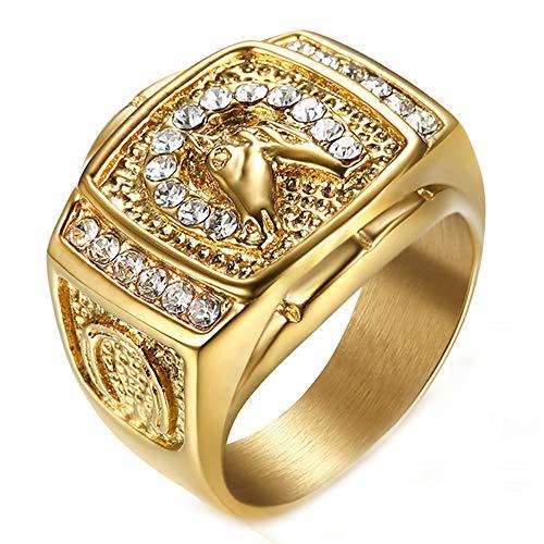 ZNKVJ Titan Stahl Vergoldete Diamantkopf Jockey Ringe Aus Titan,Gold,Größe 54 (17.2)
