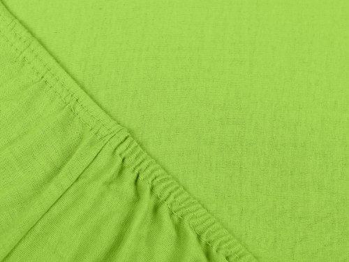 npluseins klassisches Jersey Spannbetttuch - erhältlich in 34 modernen Farben und 6 Verschiedenen Größen - 100% Baumwolle, 70 x 140 cm, Kiwi - 4