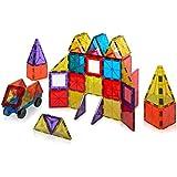 Playmags - Conjunto de 60 piezas de construcción con baldosas magnéticas de colores claros, incluye coches magnéticos (153)