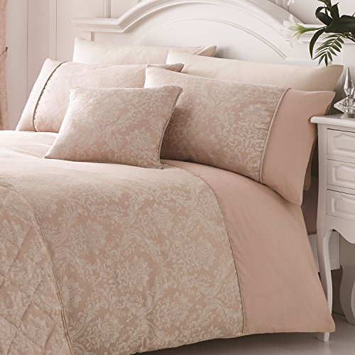 Serene Laurent Damast / Jacquard Bettbezug-Set, rose, Super King Duvet Cover Set (Duvet Cover King)