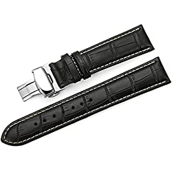 TStrap Genuine Leather Watch Strap 22mm Black Alligator Grain Military Watch Band with Deployment Clasp Buckle