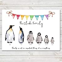 Penguin Family Print, Custom Quote, Personalised Wall Art Gift A4 or A3