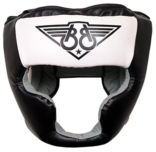 Boom Prime Weiß Leder Boxen Kopfschutz Sparring Helm Kopf Kampf Displayschutzfolie MMA Martial Arts