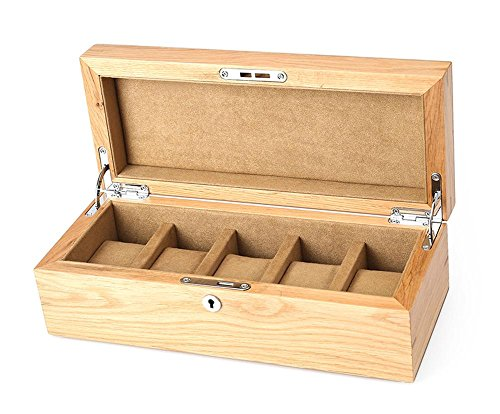 Uhrenbox uhrenkoffer uhrenkasten von eiche holz mit schloss und flanell-liner 5 gitter 30*12*9.5cm, coffee (Decor Eiche Home)