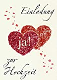 Einladungskarten Hochzeit mit Innentext Motiv Herzen Ja! 10 Klappkarten DIN A6 mit weißen Umschlägen im Set Hochzeitseinladung vom Brautpaar Vintage Einladung Hochzeit Retro (K21)