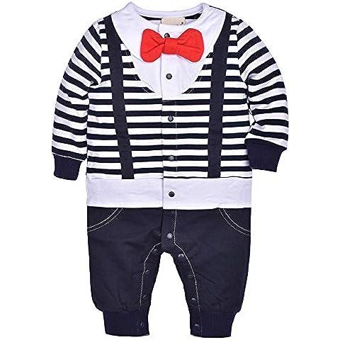 ZOEREA infantile Ragazzo del bambino Babys bambini dei capretti abbigliamento maniche lunghe pagliaccetto del cotone tuta a righe Bavaglino con rosso Bowknot vestiti