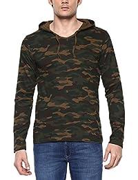 Urbano Fashion Men's Green Camouflage Hooded Full Sleeve T-Shirt