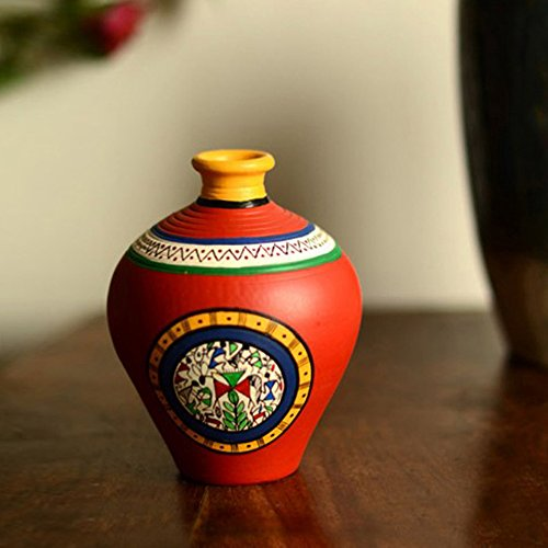 ExclusiveLane 6 Inch Terracotta Handpainted Warli Matki Shaped Vase In Red Flower Vase  Decorative Item for Living Room - Gifts Items