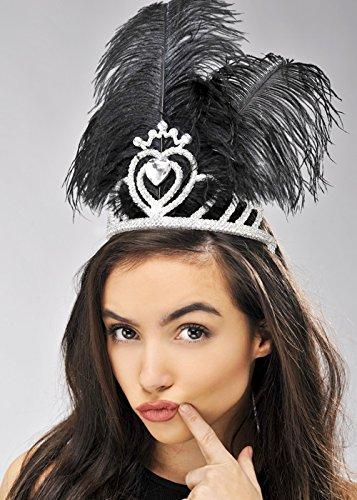 Schwarze Feder Showgirl Tiara Kopfschmuck (Vegas Tiara Las)