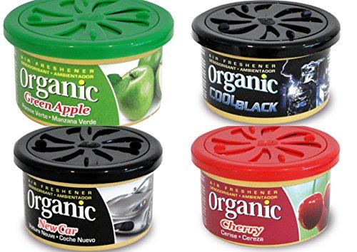4 Organic Duftdosen mit verstellbarem Dosierdeckel im Bestseller Mix: 1 x Apple - Apfel, 1 x Cherry - Kirsche, 1 x Cool Black.Sportliche Frische, 1 x New Car