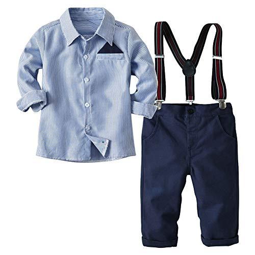 Haodasi Gentleman Baby Jungen Kleidung Set - Lange Ärmel Gestreift Hemd + Straps + Hose Frühling Herbst Outfits Anzug 0-5 Jahre alt - Kleinkind Jungen Formelle Kleidung