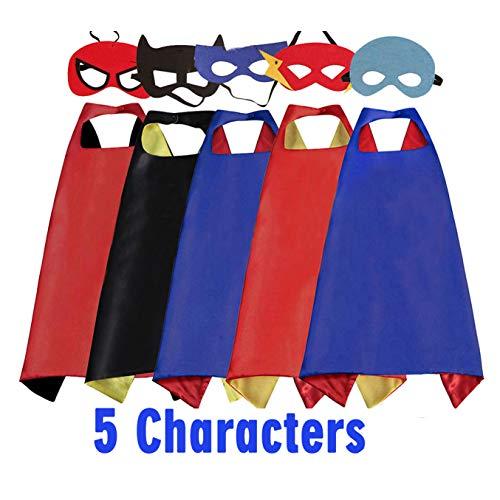 RioRand Superhelden Umhänge Kostüm für Kinder Sich 5 Capes mit 5 - Superhelden Kostüm Set