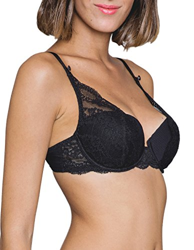 Demi Cup Bra (Maison Lejaby 17232-04 Women's Insaisissable Black Lace Padded Underwired Half Cup Demi Cup Bra 85C)