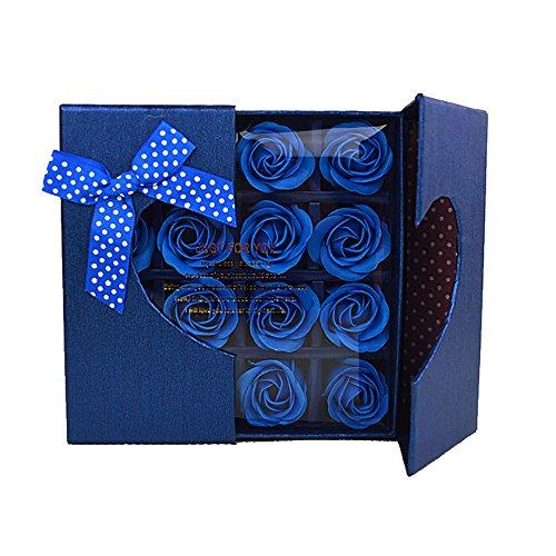Tukistore 16 Stück Solid Color Rose Soap Blumen, Künstliche Blume Everlasting Blume Rose duftende Seife Bad Blumen in Geschenk-Box für Valentine Geburtstag Hochzeit Dekor - Duftende Rose Soap
