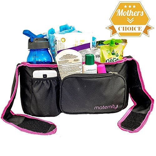 Universal Stroller Organizer By Maternity - Durable Spacious Stroller Accessory - Extra Long Straps, Fits All Strollers. Available in All Black or Black with a Pink Border.