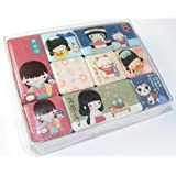 I love u Mokuko japonesas del kimono Niñas y Lucky Cat Pequeño Imán Set (9pcs Box)