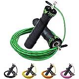 ZenRope - Speed Rope Springseil Sport mit GRATIS E-BOOK   Extra-Stahlseil, Tasche & Einstiegsguide   Rope Skipping Seil High Speed Workout Springschnur (Grün)