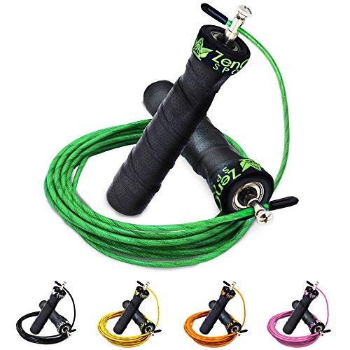 #ZenRope – Speed Rope Springseil Sport mit GRATIS E-BOOK   Extra-Stahlseil, Tasche & Einstiegsguide   Rope Skipping Seil High Speed Workout Springschnur (Grün)#