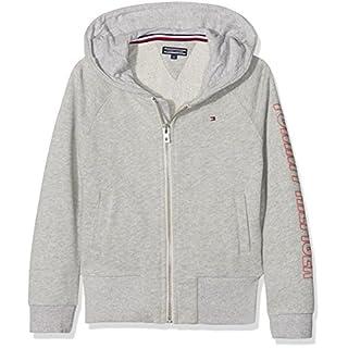 Tommy Hilfiger Mädchen Sweatjacke AME Big Logo Hooded Zipthru Grau (Light Grey Htr 061) 176 (Herstellergröße: 16)