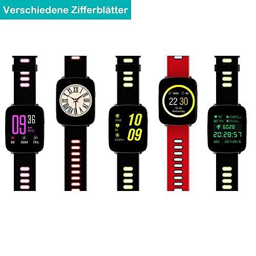 YAMAY Smartwatch Wasserdicht IP68 Smart Watch Uhr mit Pulsmesser Fitness Tracker Sport Uhr Fitness Uhr mit Schrittzähler,Schlaf-Monitor,Stoppuhr,Call SMS Benachrichtigung Push für Android und iOS - 2
