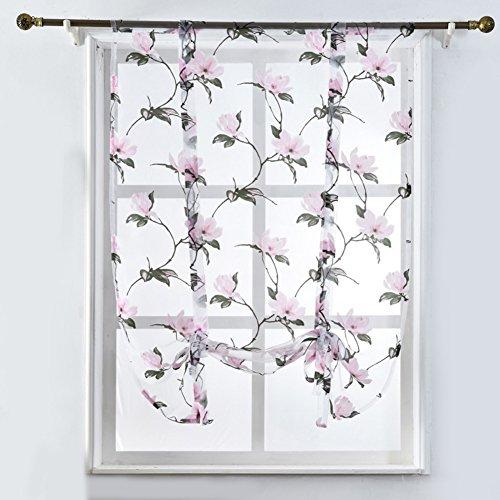 display08 Roman Vorhänge mit Volant Tüll Sheer Panel Schlafzimmer Fenster Vorhang, rose, 80*100cm (Sheer Panel-vorhang Mit Volant)