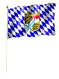 Stockflagge/Stockfahne BAYERN mit Wappen Flagge/Fahne ca. 30 x 45 cm mit ca. 60cm Stab/Stock