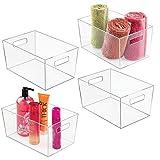 mDesign 4er-Set Ablagebox mit integrierten Griffen – große Aufbewahrungsbox für Make-up, Handtücher, Seifen und Shampoo – ideal zur Kosmetikaufbewahrung im Bad – durchsichtig