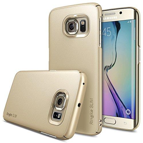 Galaxy S6 Edge Hülle, Ringke SLIM enganliegendes (Maßgenaue Ausschnitte) Ultradünnes PC Hartschalencover mit fortgeschrittener Beschichtung für Samsung Galaxy S6 Edge - Royales Gold