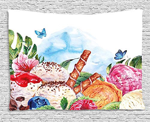 ALKKVI Tapisserie Wandbehang Wandteppiche Tropical Tapestry Flowers and Butterflies with Ice Cream Berry Sauce and Chocolate Dessert Summer Love Wall Hanging for Bedroom Living Room 80 W X 60 L Butterfly-sauce