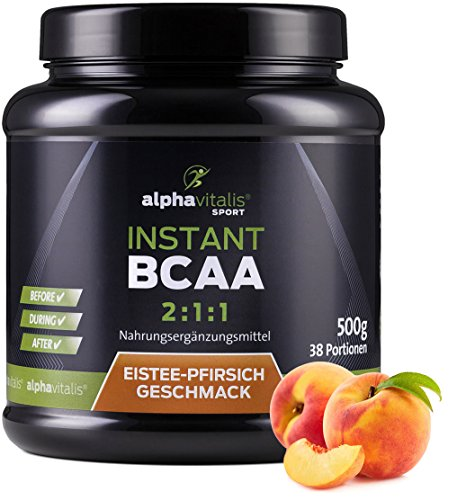 Instant BCAA Pulver 2:1:1 (Aminosäuren) mit leckerem Eistee Pfirsich Geschmack- 500g - Aminos hochdosiert & vegan - Leucin, Isoleucin, Valin für Muskelaufbau - Sport - Diät