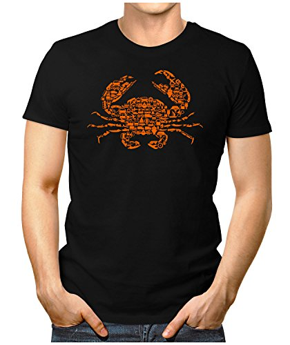 PRILANO Herren Fun T-Shirt - TRAVEL-CRAB - Small bis 5XL - NEU Schwarz