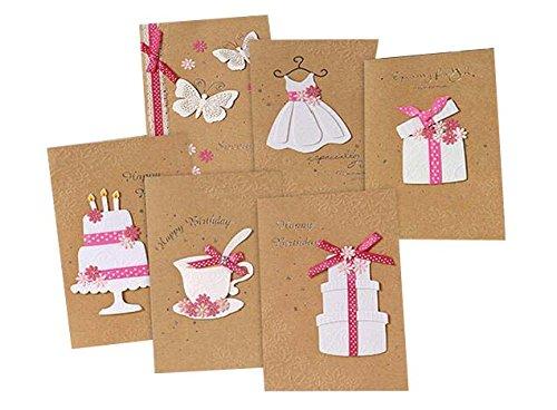 Packung mit 6 Geburtstag Grußkarten Wunschkarten mit Umschlägen