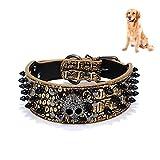 Petacc Hunde-Halsband bite-resistant Haustier mit Nieten Besatz Hunde-Halsband mit Totenkopf, für mittelgroße und große Hunde