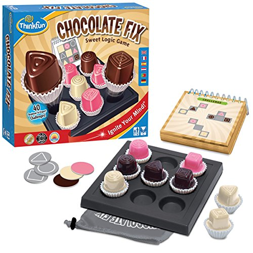 Thinkfun 11224 - Chocolate Fix, Denk und Logikspiel, blau/gelb/rosa/braun/weiß/schwarz