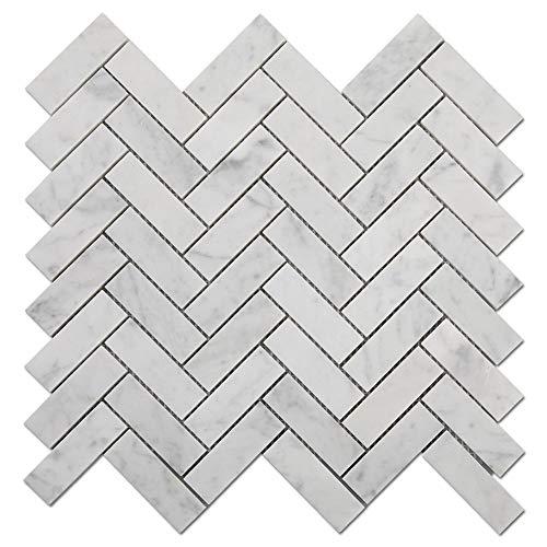 Diflart Carrara Mosaikfliesen, Fischgrätenmuster, 0,3 x 7,6 cm, 5 Bögen