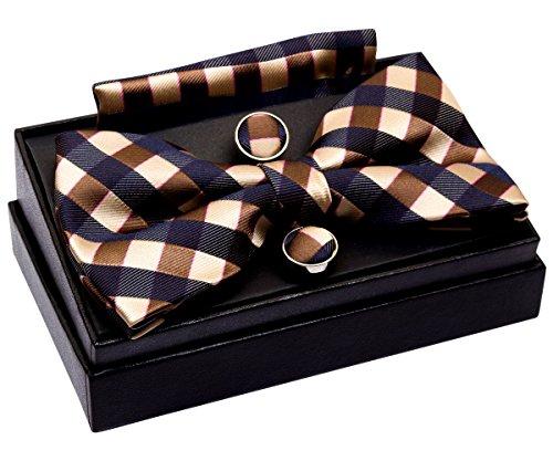 Retreez Herren Gewebte vorgebundene Fliege Klassische Karo 13 cm und Einstecktuch und Manschettenknöpfe im Set, Geschenkset, Weihnachtsgeschenke - marineblau und braun