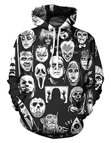 enpullover Unisex Horror 3D Druck Hoodie Jungen Skull Gedruckt Pullover Männer Clown Pulli Damen Halloween Sweatshirt Mädchen Kapuzenpulli Oberteile Langarmshirts (Farbe 3, XL) ()