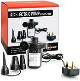 Milestone Camping AC240V/130W AC Electric Air Pump inflator/deflator for airbeds paddling pools & toys. Universal valves. 3 pin UK plug. Black
