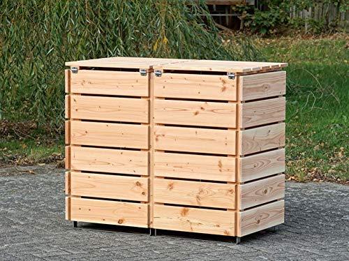 2er Mülltonnenbox / Mülltonnenverkleidung 120 L Holz, Douglasie Natur - 4