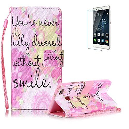 custodia-huawei-p9-lite-in-pellefunyye-smile-disegni-elegante-libro-portafoglio-cover-e-pellicola-pr