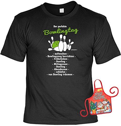 Bowler / Kegler Weihnachtsgeschenk-Set - lustiges Sprüche T-Shirt + Minischürze : Der perfekte Bowlingtag… -- Bowlingshirt + witziger Scherzartikel Flaschenschürze