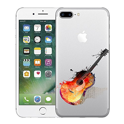 Vanki® Coque iPhone 7 Plus, Motif de feuille verte Ultra transparente silicone en gel TPU souple Coque de Bumper et Anti Scratch Shock Absorption for iPhone 7 Plus 16