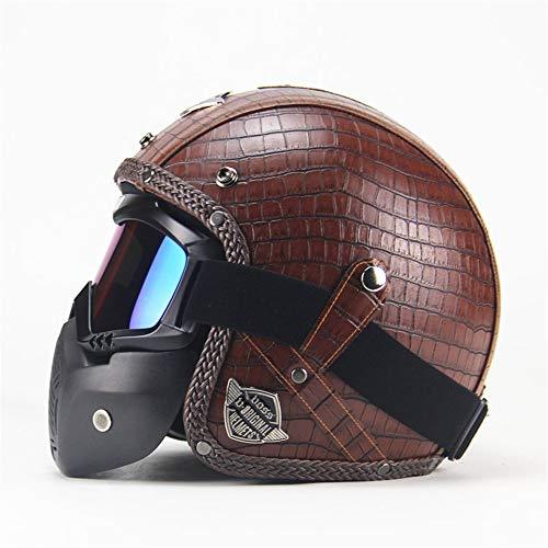 EODUDO-S Krokodilkorn Retro Harley Helm Motorradhelme Mit UV Anti-Fog Brille ATV Dirt Bike Helm Für Erwachsene Frauen und Männer, Weitere Stile (Farbe : Braun, Größe : XXL(63-64CM))