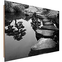 Feeby Frames, Cuadro de pared, Cuadro decorativo, Cuadro impreso, Cuadro Deco Panel, 60x90 cm, JARD?N, ESTANQUE, BLANCO Y NEGRO