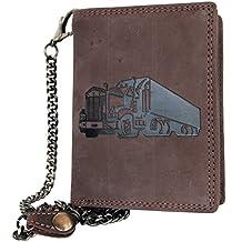 Billetera marrón claro estilo motero de cuero con camión con cadena ...