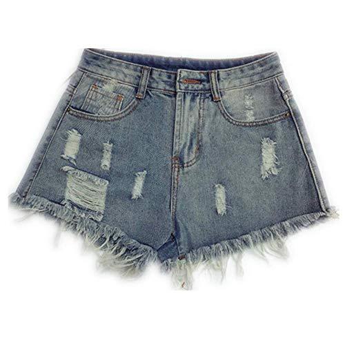 ZHOUXICAN Shorts für Mädchen Frühling Sommer Frauen Plus große größe Mode lässig sexy Shorts Oberbekleidung Sky Blue XL (Caterpillar-waist Pack)