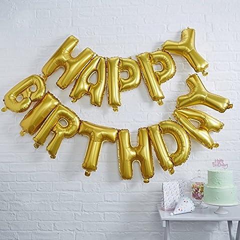 Happy Birthday Folienballon Girlande gold