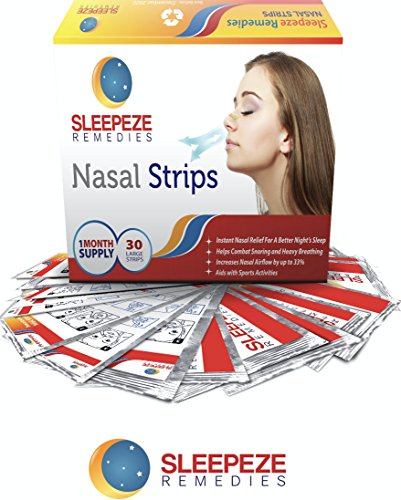 Nasenpflaster groß x30 | Sleepeze Remedies Nasenstrips stoppen das Schnarchen und helfen Ihnen durch die Nase zu atmen | Premium Qualität Schnarchstopper die nasale Stauungen unterstützen