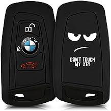 kwmobile Funda de silicona para llave remota de 3 botones para coche (solamente Keyless Go) - cover de llave - key case Diseño Don't touch my Key en blanco negro