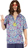 Mens Purple 1960s 1970s Groovy Hippy Hippie Festival Top & Peace Sign Necklace Fancy Dress Costume Outfit (One Size)